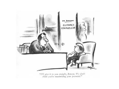 """""""I'll give it to you straight, Benson. We don't think you're maximizing yo…"""" - New Yorker Cartoon by Lee Lorenz"""