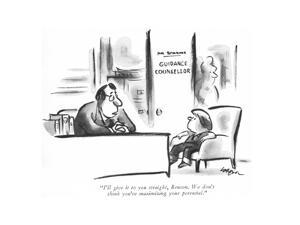 """""""I'll give it to you straight, Benson. We don't think you're maximizing yo?"""" - New Yorker Cartoon by Lee Lorenz"""