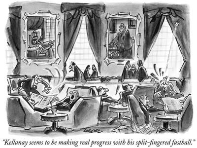 """""""Kellanay seems to be making real progress with his split-fingered fastbal…"""" - New Yorker Cartoon by Lee Lorenz"""