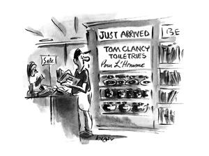 Man in store sees shelves with 'Tom Clancy Toiletries-Pour L'Homme'. - New Yorker Cartoon by Lee Lorenz