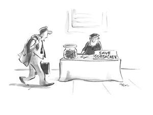 "Man sitting on street corner with sign ""Save Gorbachev"". - New Yorker Cartoon by Lee Lorenz"