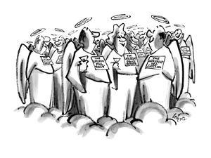 Men & women in Heaven are standing around at a cocktail party, with nameta… - New Yorker Cartoon by Lee Lorenz