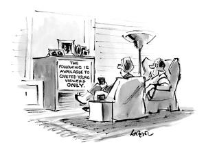 """Middle-aged couple watching television. The screen reads, """"The Following I…"""" - New Yorker Cartoon by Lee Lorenz"""