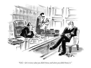 """""""O.K.—let's review what you didn't know and when you didn't know it."""" - New Yorker Cartoon by Lee Lorenz"""