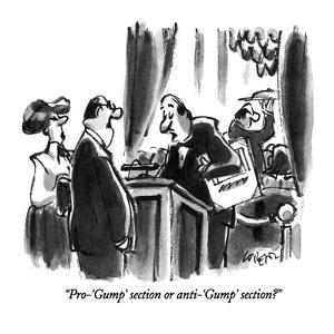 """""""Pro-'Gump' section or anti-'Gump' section?"""" - New Yorker Cartoon by Lee Lorenz"""