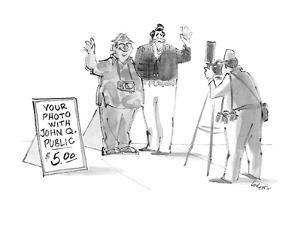 Ronald Reagan being photographed with fake commoner. - New Yorker Cartoon by Lee Lorenz