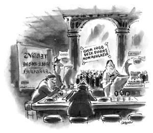 "Sign in bar that says ""Our 1988 Desk Diaries Now Available"". - New Yorker Cartoon by Lee Lorenz"
