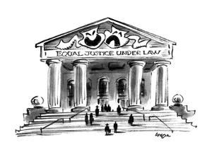 "The Greek masks of comedy and tragedy rest above the words ""Equal Justice … - New Yorker Cartoon by Lee Lorenz"