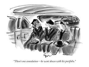 """""""There's one consolation?he went down with his portfolio."""" - New Yorker Cartoon by Lee Lorenz"""