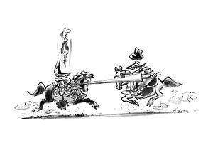 Two knights jousting; one is popped up out of his armor by the lance of th… - New Yorker Cartoon by Lee Lorenz