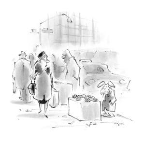 Woman passes easter rabbit selling Easter eggs on the street. - New Yorker Cartoon by Lee Lorenz
