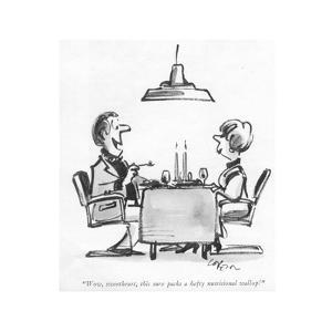 """Wow, sweetheart, this sure packs a hefty nutritional wallop!"" - New Yorker Cartoon by Lee Lorenz"