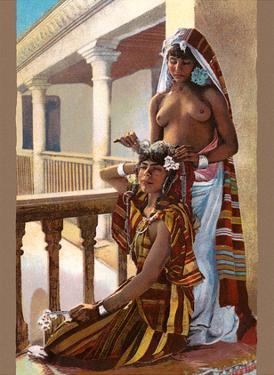 The Dressing (La Toilette) - Classic Vintage Hand-Colored Nude - Exotic Near East Erotica Art by Lehnert & Landrock