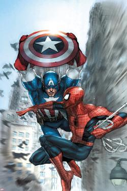 Avenging Spider-Man No.5 Cover: Spider-Man and Captain America by Leinil Francis Yu