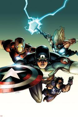 Ultimate Avengers vs. New Ultimates No.2 Cover: Captain America, Iron Man, Thor, and Hawkeye Flying by Leinil Francis Yu