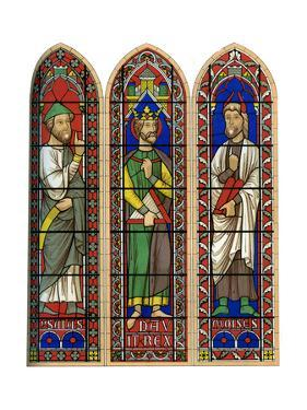 Stained Glass of Moses, King David and Isaiah, Bourges Cathedral, 13th Century by Lemercier
