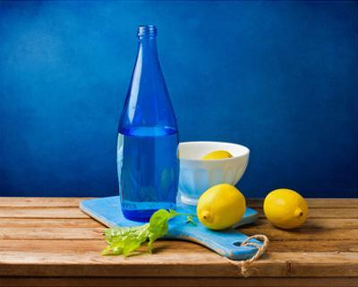 Lemons and Bottle Still Life