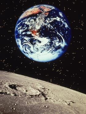 Planet Earth and Moonscape by Len Delessio