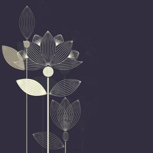 Three Abstract Lotus Flower on the Dark Purple Background Vector by Lena Livaya