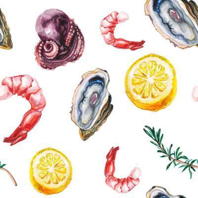 Watercolor Sea Delicacies Pattern by lenavetka87