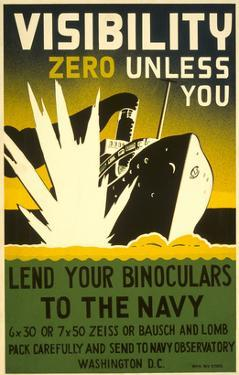 Lend Your Binoculars to the Navy, WWII Poster