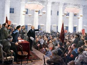 Lenin Haranguing Deputies of the 2nd Soviet Congress, Smolny Palace, St Petersburg, 1917
