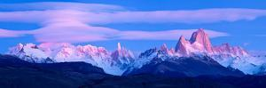Lenticular Clouds and Pre-Dawn Light over Mountains, Mt Fitzroy, Cerro Torre, Argentine Glaciers...