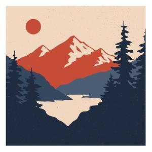 Vintage Mountain Landscape. Vector Illustration by Leo Falckone