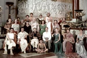 Leo Genn, Robert Taylor, Deborah Kerr, Peter Ustinov and Patricia Laffan around Mervyn LeRoy on the
