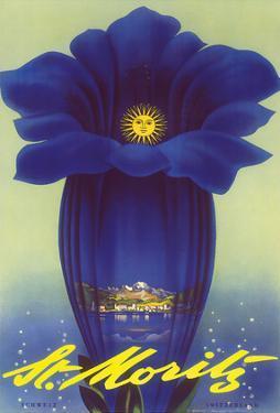St. Moritz, Schweiz (Switzerland) - Blue Trumpet Gentian Flower by Leo Keck