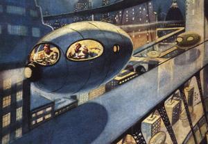Sci Fi - Futuristic City Scene, 1932 by Leo Morey