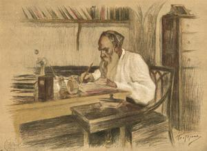 Leo Tolstoy in Study by L O Pasternak
