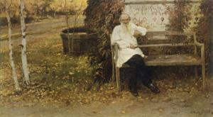 Leo Tolstoy the Russian Novelist About a Year Before His Death
