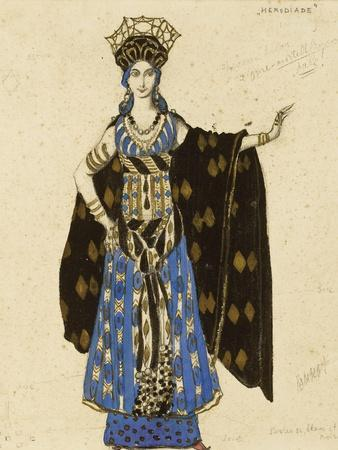 A Costume Design for 'Salome': Herodiade, (Pencil and Gouache, Heightened with Gold)