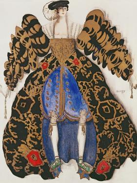 Costume Design for the Ballet 'La Legende De Joseph', 1914 (Charcoal and Gouache on Paper) by Leon Bakst
