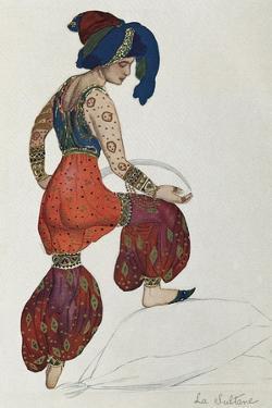 Costume of Vaslav Nijinsky or Nijinski in the character of the sultan in the ballet Sheherazade by Leon Bakst