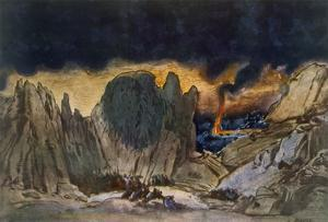 Scenery Design from Phedre, 1917 (Colour Litho) by Leon Bakst