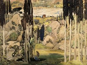 Set Design for Act II of a Ballet Russes Production of Ravel's Daphnis and Chloe, 1912 by Leon Bakst