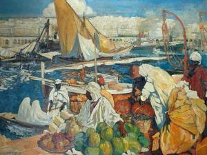 Alger La Blanche - Quay Scene, Algiers, 1912 by Leon Cauvy