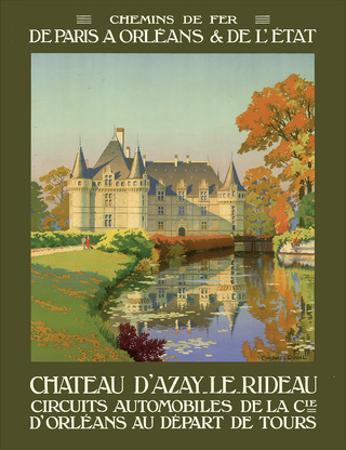 Château d'Azay-le-Rideau - Loire Valley, France - (Railways of Paris to Orléans & The State) by Léon Constant-Duval