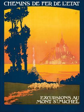 Excursions Au - Mont St. Michel - Normandy, France - French State Railways by Léon Constant-Duval