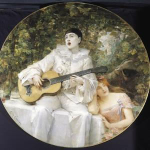 Pierrot, Colombine and Arlequin by Leon Francois Comerre