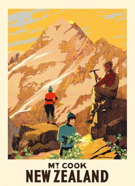 New Zealand - Mt. Cook (Aoraki) Mountain Climbers by Leonard C. Mitchell