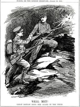 WW1 - Cartoon - Britain Joins Her Allies by Leonard Craven Hill