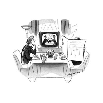 Woman sitting art breakfast table with husband hidden behind newspaper. Sh? - New Yorker Cartoon