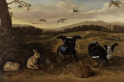 Black Game, Rabbits and Swallows in a Park, C.1700