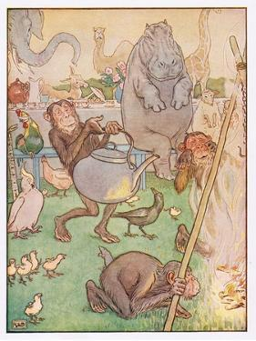 So the Chimpanzee Put the Kettle on for Tea, Illustration from 'Johnny Crow's Party', c.1930 by Leonard Leslie Brooke