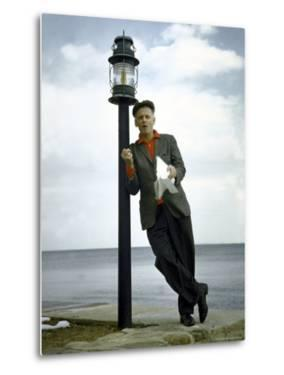 Actor Art Carney Leaning Against a Lamp Post by Leonard Mccombe
