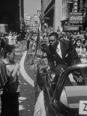 Giants Player Willie Mays Riding in Parade Prior to Opening Game by Leonard Mccombe