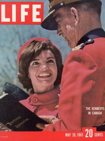 Jacqueline Kennedy Chatting with Canadian Mounted Policeman During Visit with JFK, May 26, 1961
